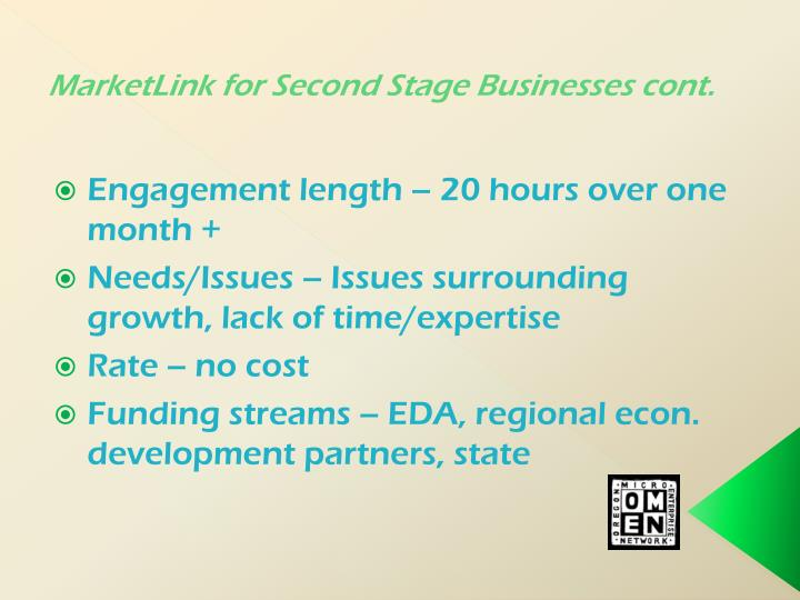 MarketLink for Second Stage Businesses cont.
