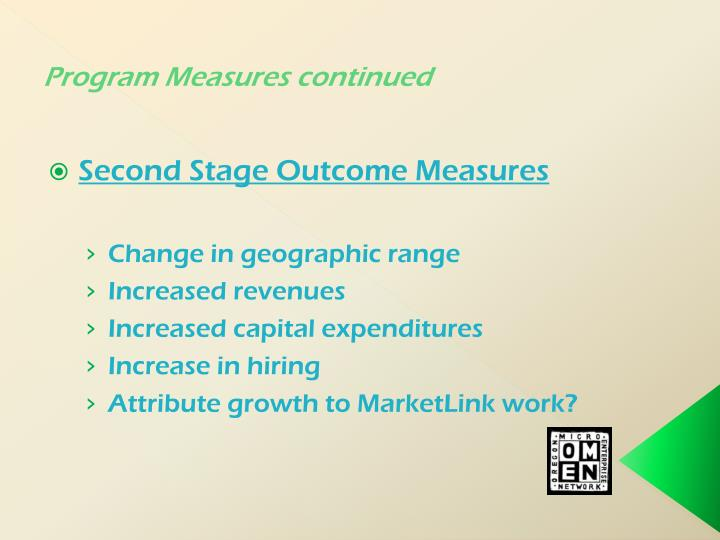 Program Measures continued