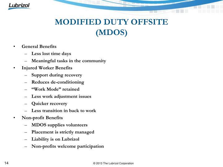 MODIFIED DUTY OFFSITE