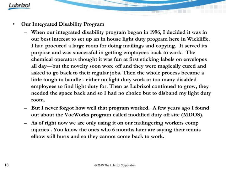 Our Integrated Disability Program