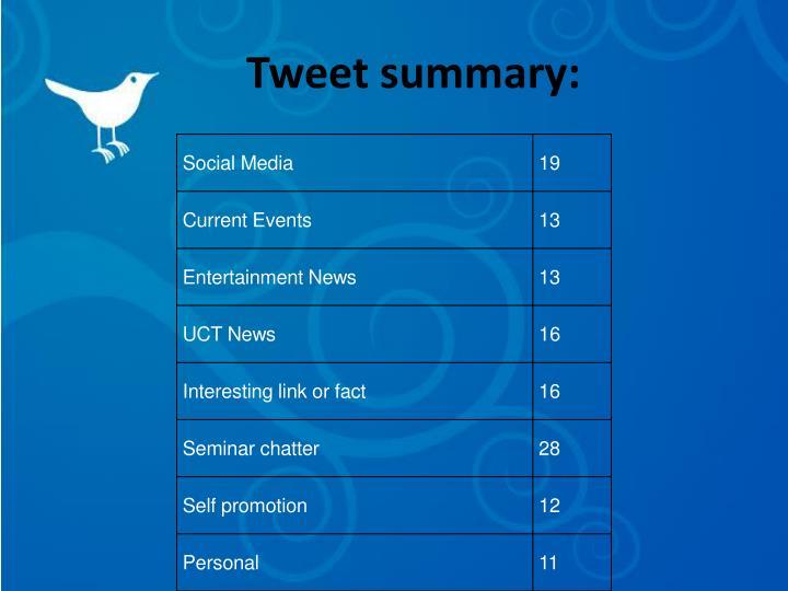 Tweet summary: