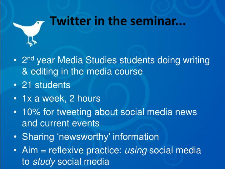 Twitter in the seminar...