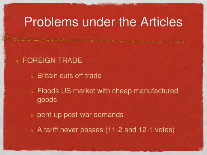 Problems under the Articles