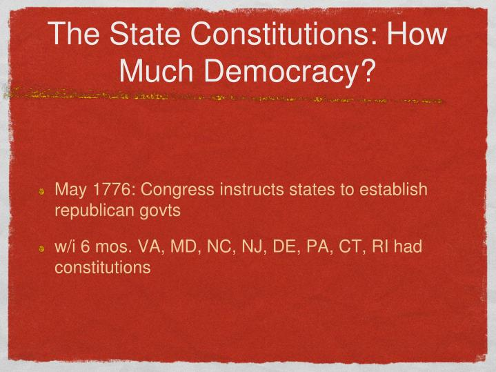 The State Constitutions: How Much Democracy?