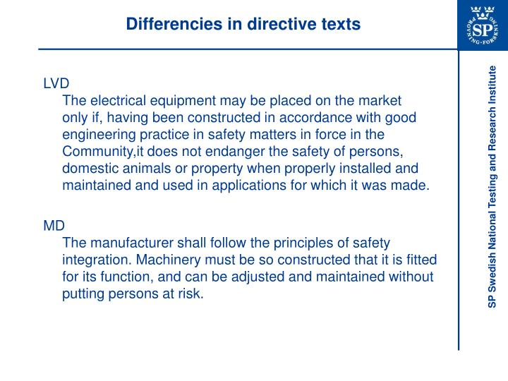 Differencies in directive texts
