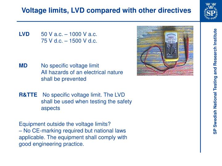 Voltage limits, LVD compared with other directives