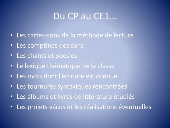 Du CP au CE1…