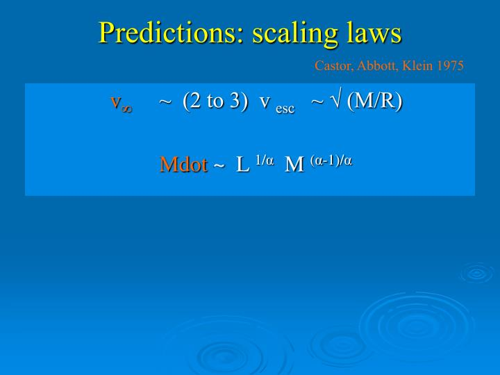 Predictions: scaling laws