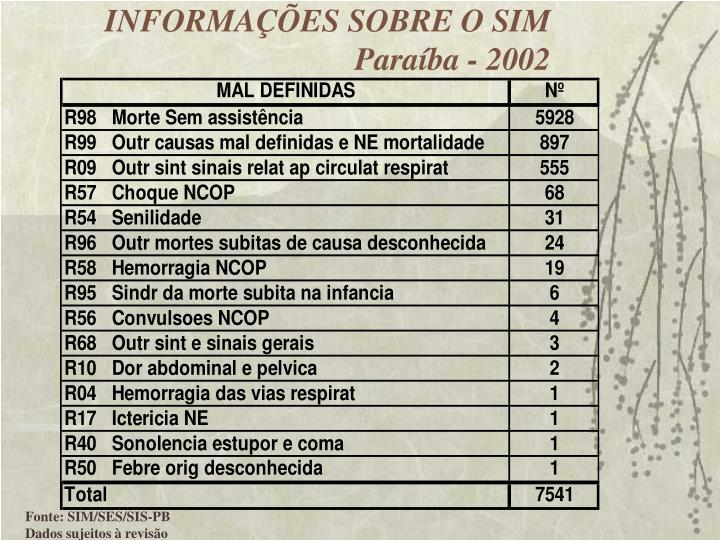 INFORMAÇÕES SOBRE O SIM  Paraíba - 2002
