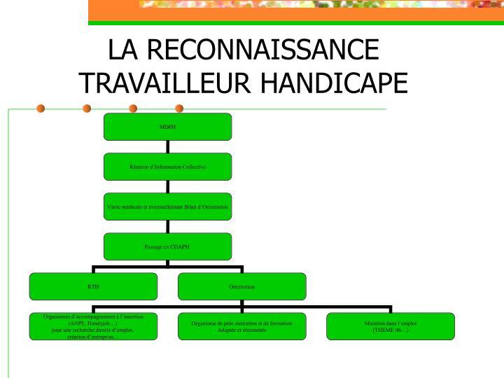 LA RECONNAISSANCE TRAVAILLEUR HANDICAPE