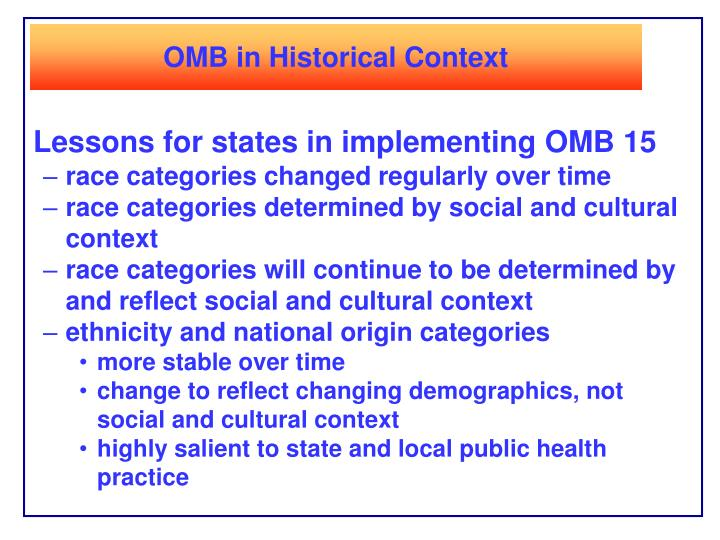 OMB in Historical Context