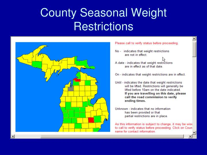 County Seasonal Weight Restrictions