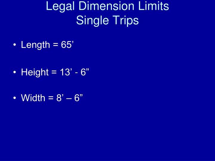 Legal Dimension Limits