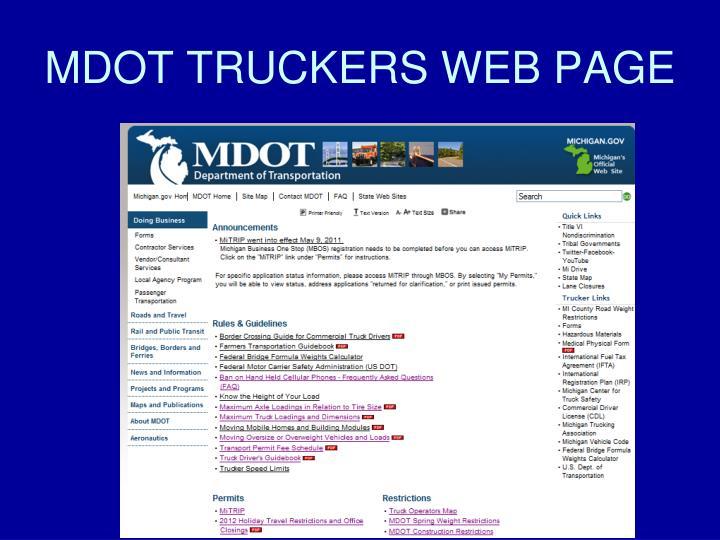 MDOT TRUCKERS WEB PAGE