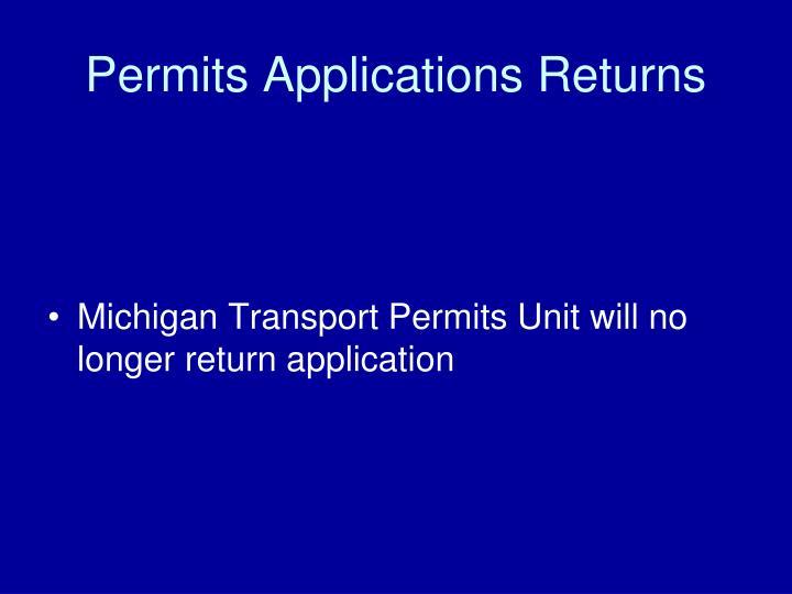 Permits Applications Returns