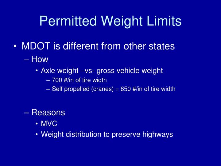 Permitted Weight Limits