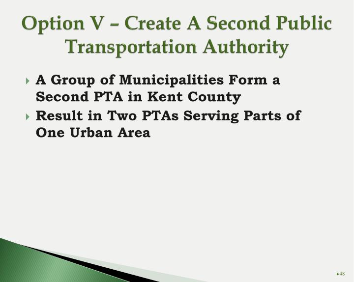 Option V – Create A Second Public Transportation Authority