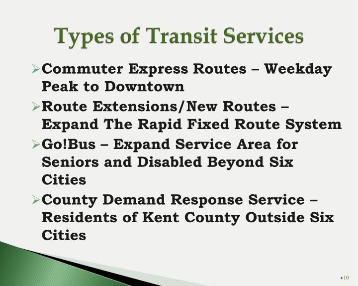 Types of Transit Services