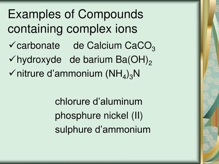 Examples of Compounds containing complex ions