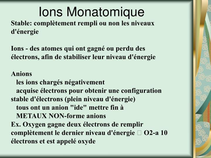 Ions Monatomique