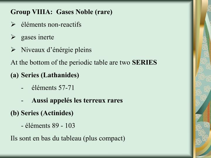 Group VIIIA:  Gases Noble (rare)