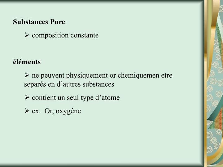 Substances Pure