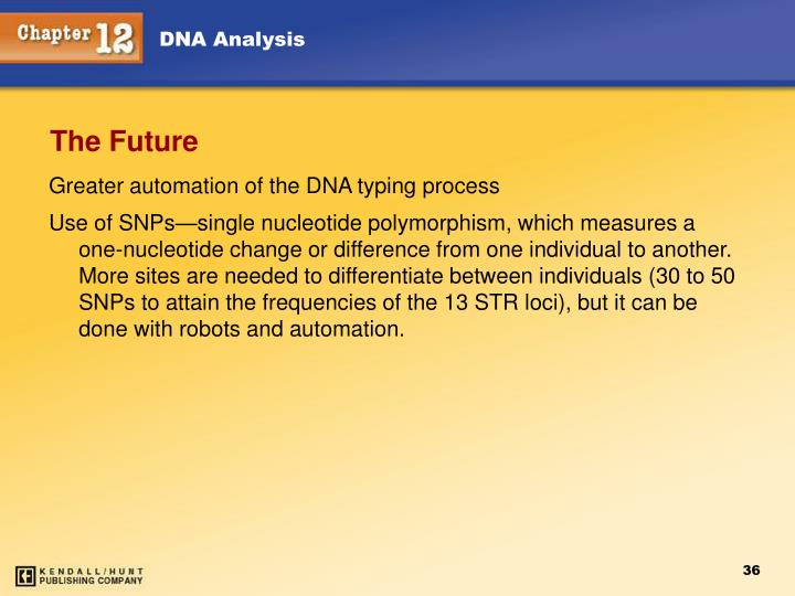 Greater automation of the DNA typing process