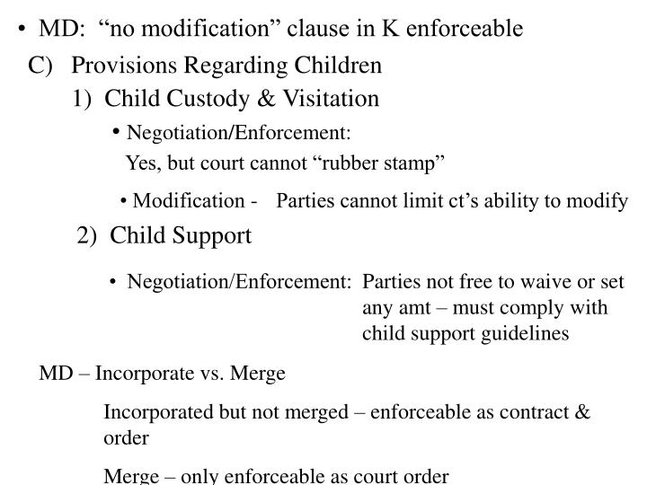 "•  MD:  ""no modification"" clause in K enforceable"