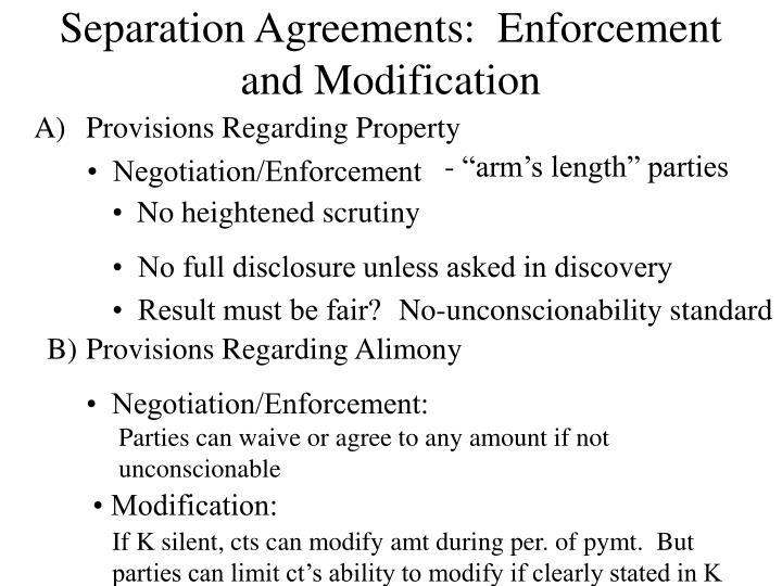 Separation Agreements:  Enforcement and Modification