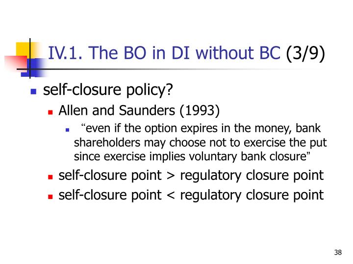 IV.1. The BO in DI without BC