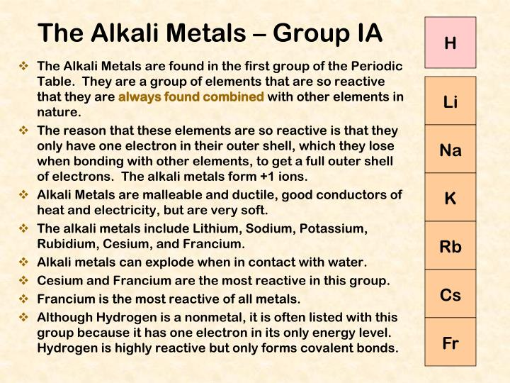 The Alkali Metals are found in the first group of the Periodic Table.  They are a group of elements that are so reactive that they are