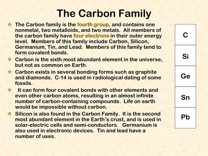 The Carbon family is the