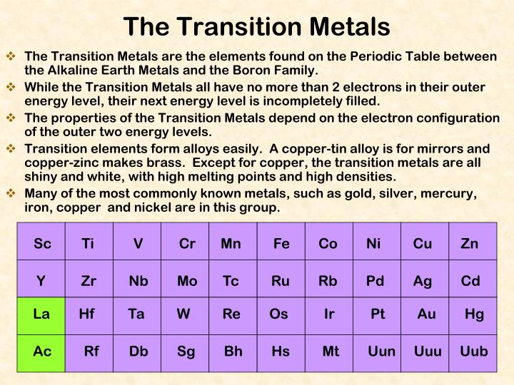 The Transition Metals are the elements found on the Periodic Table between the Alkaline Earth Metals and the Boron Family.
