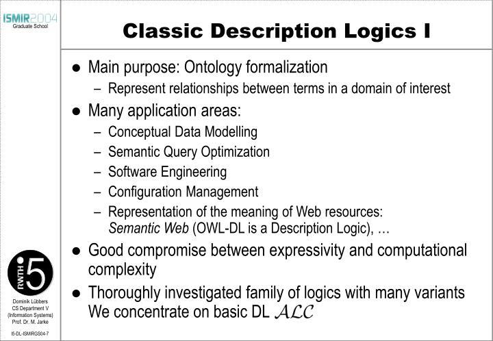 Classic Description Logics I