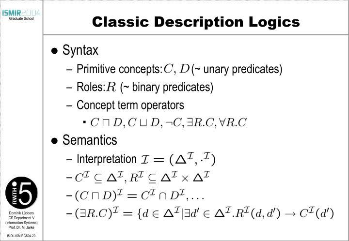 Classic Description Logics