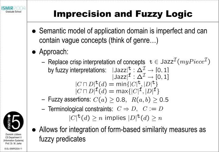 Imprecision and Fuzzy Logic