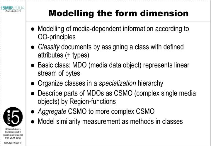 Modelling the form dimension