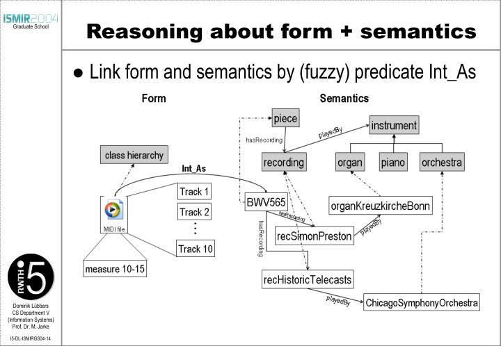Reasoning about form + semantics