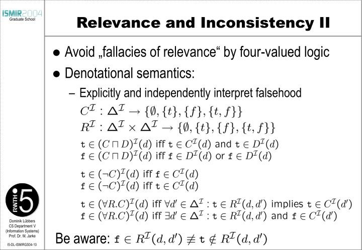 Relevance and Inconsistency II