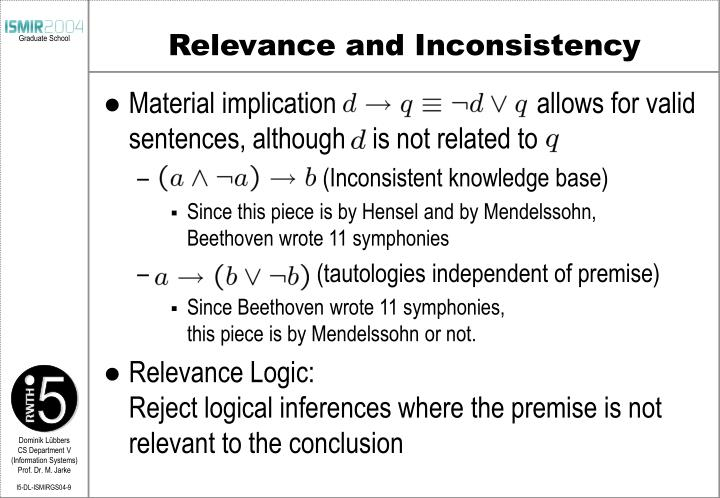 Relevance and Inconsistency