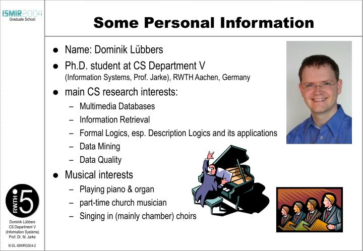Some Personal Information