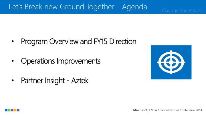 Let's Break new Ground Together - Agenda