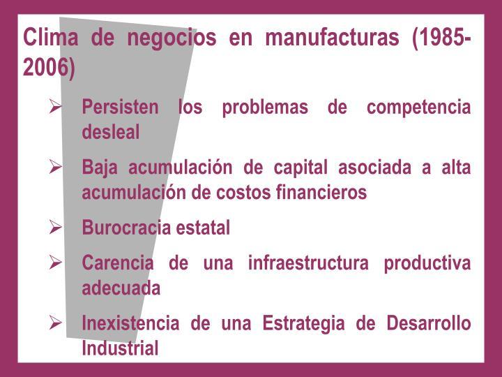 Clima de negocios en manufacturas (1985-2006)