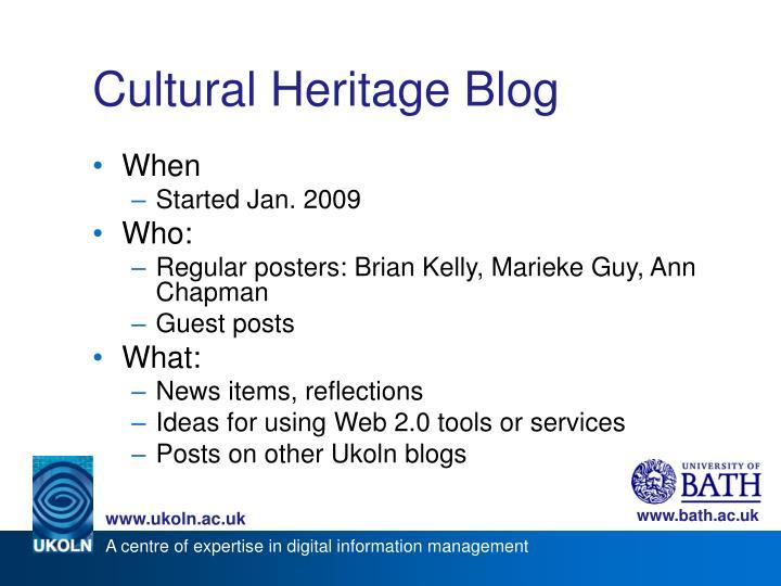 Cultural Heritage Blog