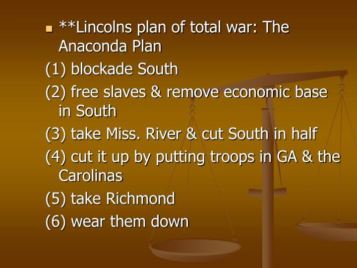 **Lincolns plan of total war: The Anaconda Plan