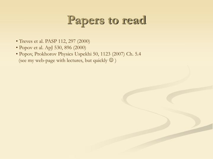 Papers to read