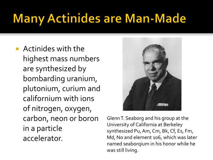 Many Actinides are Man-Made