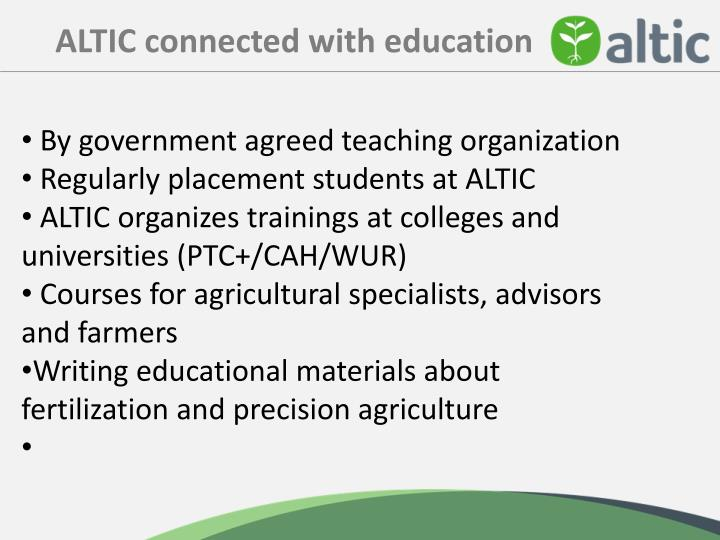 ALTIC connected with education