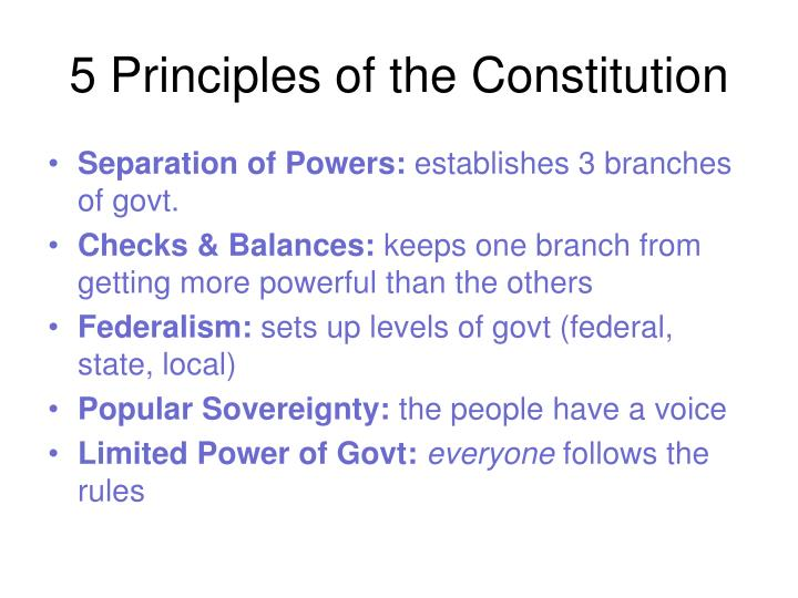 5 Principles of the Constitution