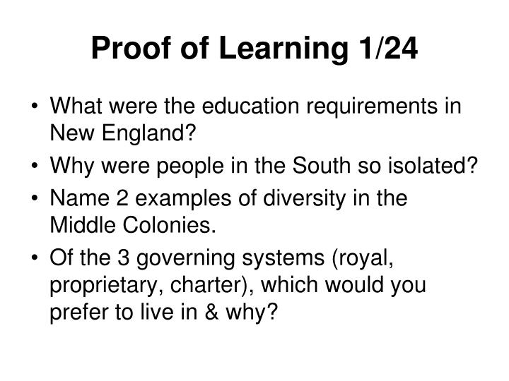 Proof of Learning 1/24